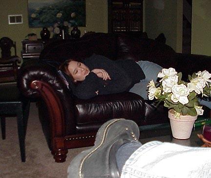 Josh is taking so long she's falling asleep