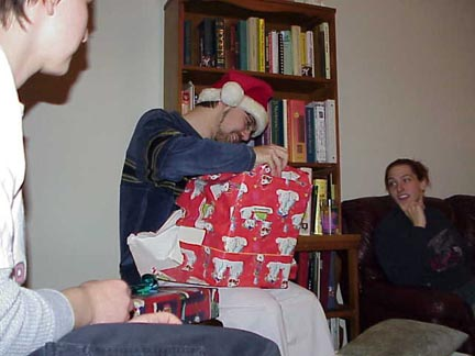 Jeff opens his gift
